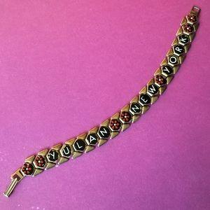 Vintage Yulan New York bracelet gold tone enamel